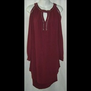 Knox Rose Dress Oxblood Studded Cold Shoulder XS